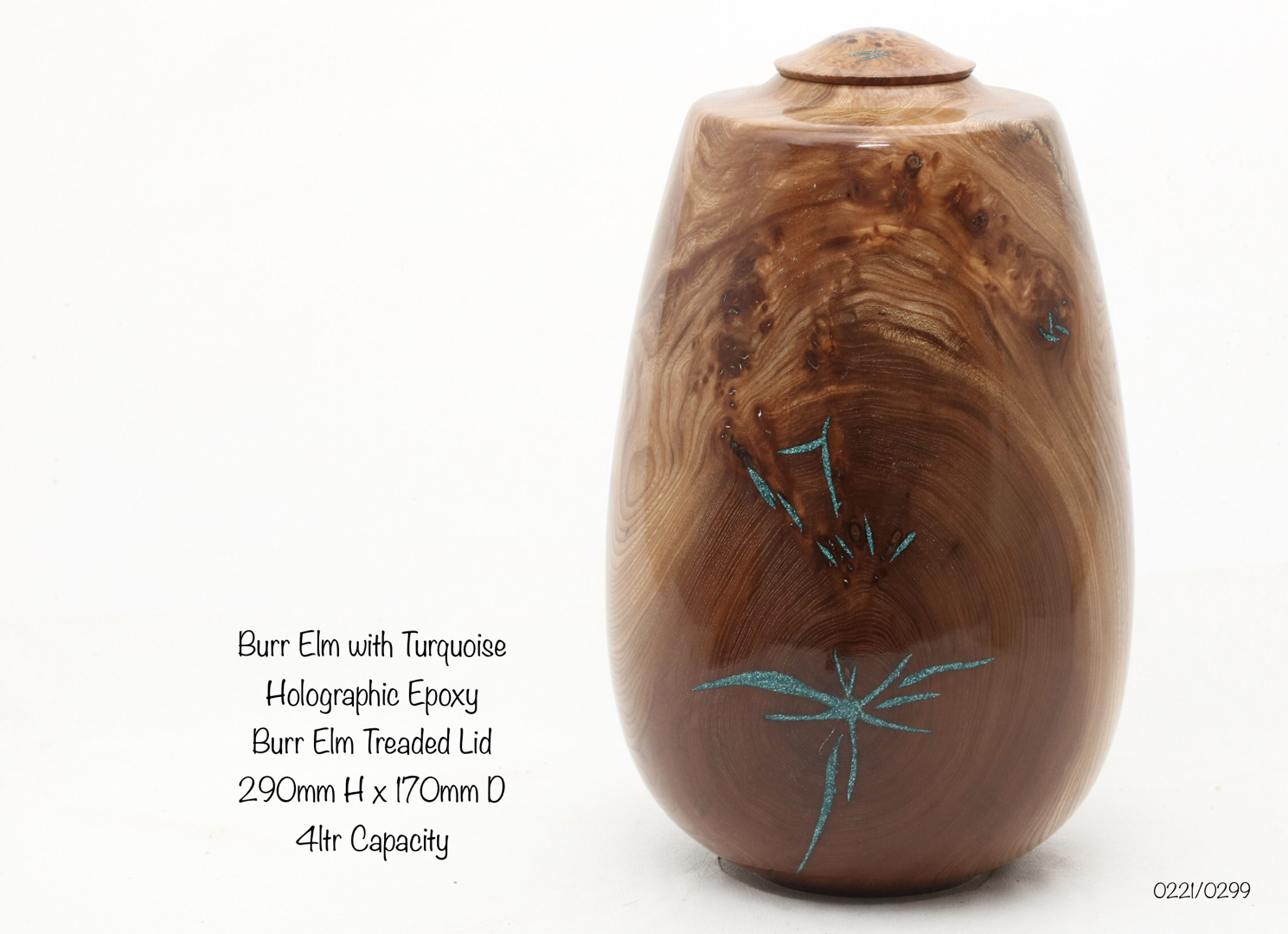 Burr Elm with Turquoise Holographic Epoxy