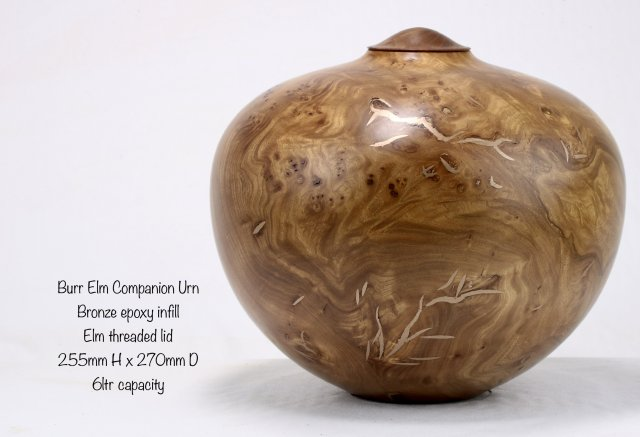 Burr Elm & Bronze Epoxy Companion Urn